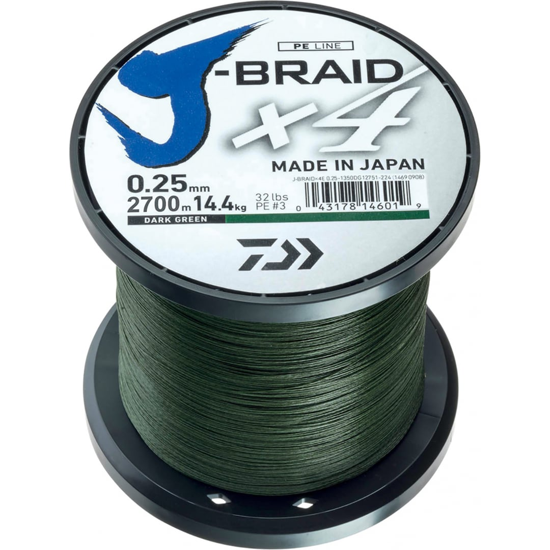 Daiwa J-Braid X4 Mossgrön 1350m 0,29mm